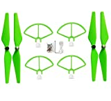 Upgraded Crash Pack Main Blade Propellers Propeller Guard for DJI Phantom 1 Phantom 2 Phantom 3 Pro Quick Release Propeller Protector 9450 Propeller Replacement Set (Green)