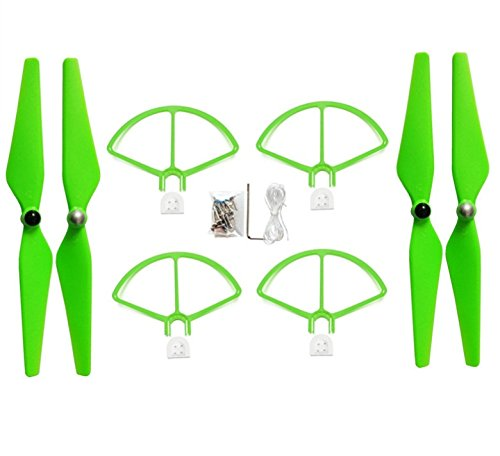 Upgraded Crash Pack Main Blade Propellers Propeller Guard for DJI Phantom 1 Phantom 2 Phantom 3 Pro Quick Release Propeller Protector 9450 Propeller Replacement Set (Green) by Fu's store