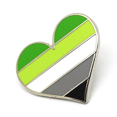 Aromantic Pride Pin Flag LGBTQ Gay Heart ARO Community Lapel Pin