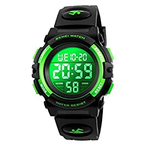 Kids Digital Sports Watch for Boys Girls, Boy Waterproof Casual Quartz Led Watches with Alarm Stopwatch Wristatches-Green