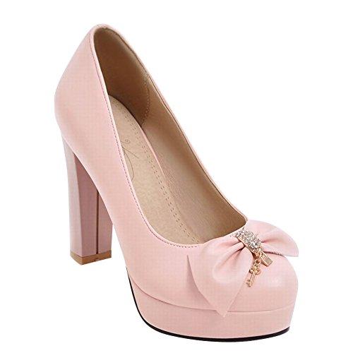 Charm Foot Womens Elegant Bows Rhinestone Chunky High Heel Pump Shoes Pink SqOh6RsrBU