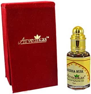 Arvedikas - Alcohol Free Krishna Musk Perfume Oil Fragrance Blends Well Essentail Long Lasting for Men Glass Roll on Bottle with Golden Cap Attar/Ittar/Parfum 10ml