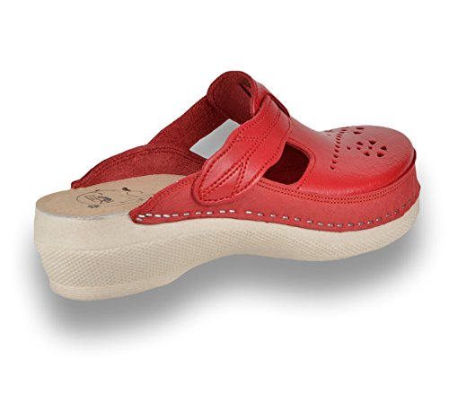 LEON PU156 Leather Slip-On Womens Ladies Mule Clogs Slippers Shoes Red UT5F0TxZD