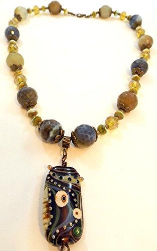 - Earth-tone/Green Necklace- Agate- Lampwork by Cornelia Lentze