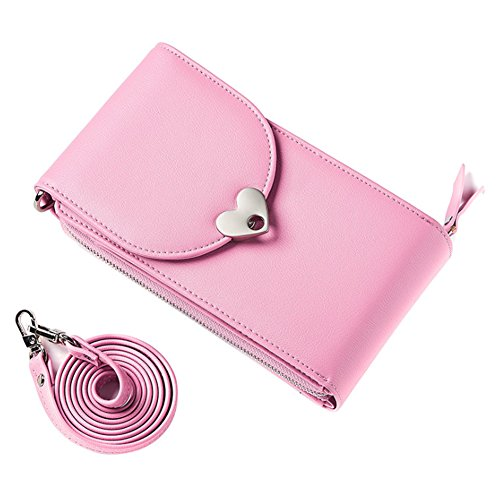 Mini Cell Phone Bag, Small Shoulder Cross Body Bag PU Leather Travel Neck Pouch Money Wallet Card Holder Coin Organiser for Women Girls with Detachable Strap by Uniuooi Hot Pink