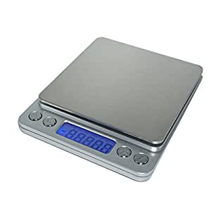 LOTEC 3000g 0.1g High-precision Digital Kitchen Scale Multifunction Jewelry Food Pocket Stainless Steel Weight Balance with Blue Backlight LCD Display