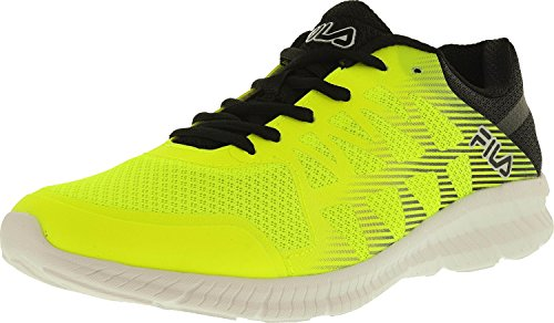 Fila Men's Memory Finity Running Shoe, Safety Yellow/Black/Metallic Silver, 9.5 M US
