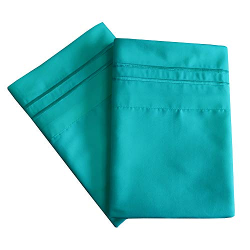 Mejoroom Luxury Pillowcase Set Brushed Microfiber 1800 Bedding - Wrinkle, Fade, Stain Resistant - Hypoallergenic (2 Pillowcases Standard, Teal)