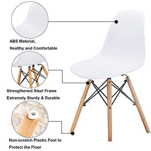 VECELO Mid Century Modern Style Side Chairs with Natural Wood Legs (Set of 4) Easy Assemble for Kitchen Dining, Living Room,Bedroom, Standard, White by VECELO (Image #3)