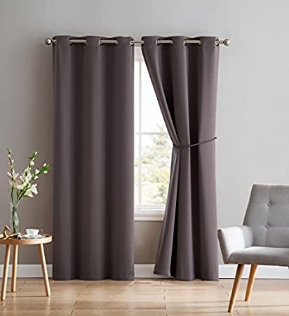 d9fc5b3ccbfdae Nicole - 2 Premium Grommet Blackout Window Curtain Panels with Tiebacks -  Solid Thermal Insulated Draperies