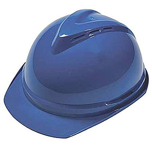 1 x 8 x 1 Mine Safety Appliances 10034028 MSA Blue V-Gard 500 Polyethylene Slotted Cap Style Hard Hat with Fas Trac 6 Point Ratchet Suspension MSA Plastic