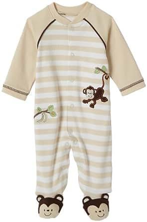 Amazon Little Me Layette Footie Monkey Stripe Ivory