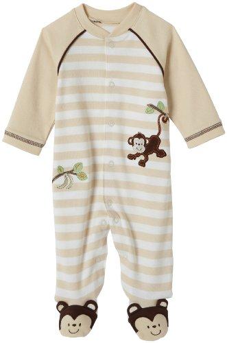 Little Me Layette Footie, Monkey Stripe, Ivory, Newborn
