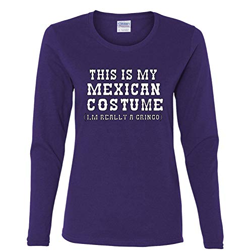 (This is My Mexican Costume Cinco De Mayo Womens Long Sleeve Graphic T-Shirt, Purple, X-Large )