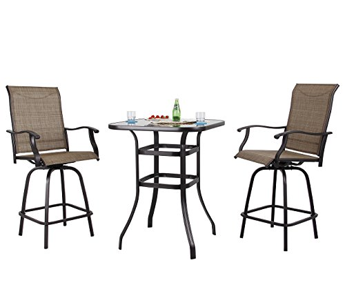 PHI VILLA Patio 3 PC Swivel Bar Sets Textilene High Bistro Sets, 2 Bar Stools and 1 Table, Brown (Bar Set Bistro)