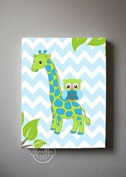 MuralMax Canvas Wall Decor - Owl and Giraffe Theme Nursery Art Collection - Chevron Design Nursery Decor Made in USA, 8 x 10 Inches