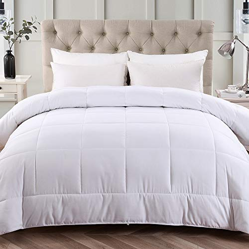 Bedding Quilted Collection (JML Twin Comforter Duvet Insert, All-Season Down Alternative Comforter - 8 Corner Tabs, Ultra Soft, Hypoallergenic Reversible Hotel Collection Bedding Quilted Comforter, White)
