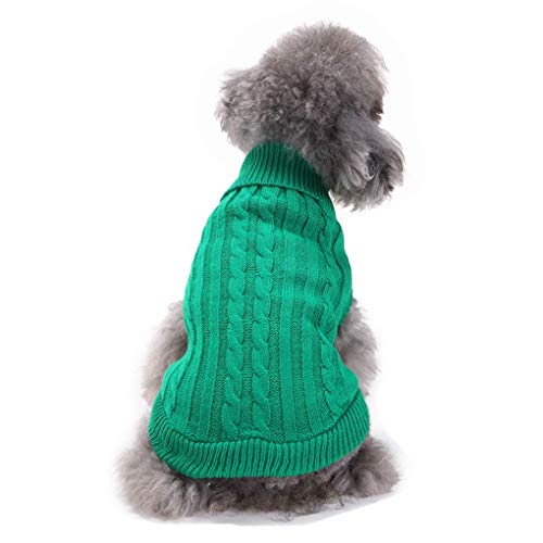 Bwealthest Puppy Sweater - Warm Doggie Unisex Sweater Clothes, Cute Knitted Classic Dog Coat, Dog Sweater, Pet Dog Sweatshirt Apparel (Small, Green) ()