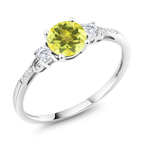 Gem Stone King 10K White Gold Diamond Accent 3-stone Engagement Ring set with Canary Mystic Topaz White Created Sapphire 1.15 cttw (Size 6) Canary Diamond Engagement Ring