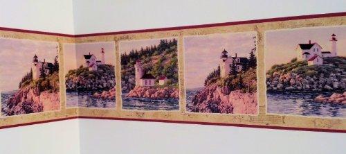 Lighthouse Seashore Wallpaper Border - Red... (Beach Border Scene Wallpaper)