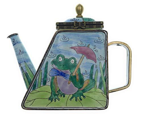 Kelvin Chen Enameled Miniature Tea Pot - Frog on Lily Pad