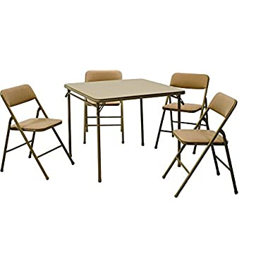 Cosco Products 5-Piece Folding Table and Chair Set, Tan