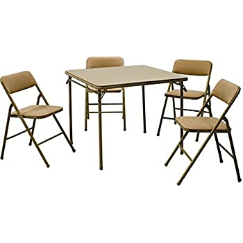 Cosco 5-Piece Folding Table and Chair Set Tan  sc 1 st  Amazon.com & Amazon.com: Cosco Products 3 Piece Indoor Outdoor Table \u0026 2 Bench ...