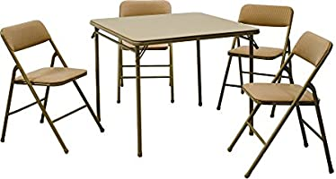 Save on Cosco 5-Piece Folding Table and Chair Set, Tan and more