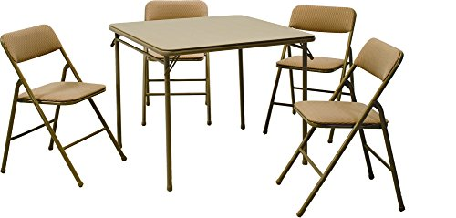 Cosco 5-Piece Folding Table and Chair Set, Tan (Foldable Table Set)