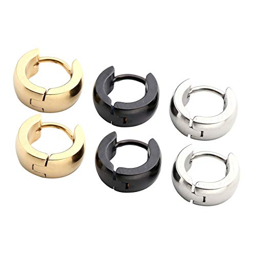 3 Pairs Black Gold Silver 18G Hoop Earrings for Men Women Earlobe Helix Cartilage Nose Septum Piercing Small Loop Huggie Ring 4mm Thick, 7mm Diameter (Best Earrings For Large Earlobes)