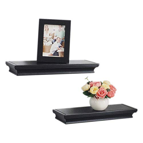 HAO Set of 2,Approx 5 Depth Floating Wall Shelf Wooden Floating Shelves Ledge Household Storage Shelving Black