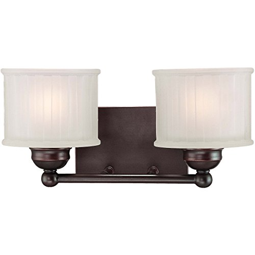 Minka Lavery Wall Sconce Lighting 6732-167, 1730 Series Reversible Glass Damp Bath Vanity Fixture, 2 Light, 200 Watts, Bronze