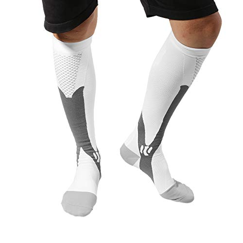 (3 Pair Professional Men Women Leg Support Breathable Stretch Compression Socks Below Knee Football Socks Sport Active School Team Sock White XXL)