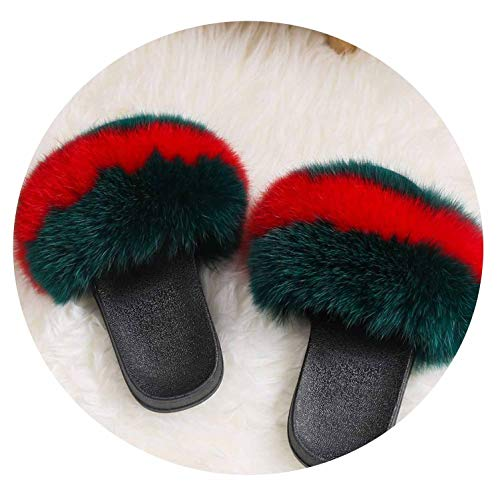 Fox Fur Sandals Fox Hair Fur Slides Rubber Flat Non-Slip for sale  Delivered anywhere in USA