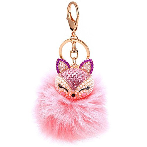 Big Ball Chain (Fox Fur Ball Pearl Rhinestone Keychain Keyring for Car Key Ring Handbag Chain)