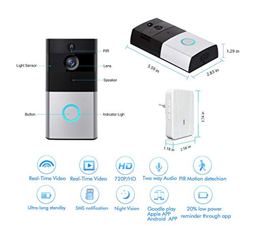 Akpote Video Doorbell,Smart WiFi Camera 720P HD 166ﹾ Lens with 6 LED Night Vision Wireless Visual Doorbell IP55 Real-Time Two-Way Audio PIR Motion Detection, App for iOS and Android with 16G TF Card by Akpote (Image #1)