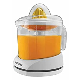 BLACK+DECKER 34oz Citrus Juicer, White, CJ625 7 <p>The BLACK+DECKER Citrus Juicer features two self-reversing cones that squeeze every drop of juice from your favorite citrus! The small cone squeezes more juice from small fruits like oranges, lemons and limes, while the large cone is perfect for grapefruit. Adjustable pulp control lets you get the amount of pulp you want and built-in cord storage keeps the cord neat and out of the way. All parts are dishwasher-safe for fast and easy cleanup! Included Components: (1) Juicer, (1) Storage Cover 30-watt electric citrus juicer with 34-oz. capacity Auto-reversing juicing cones provide maximum juice extraction Adjustable Pulp Control with Pulp Basket - Pulp collects in the removable basket so you can throw it out or use it in other recipes Easy-to-Read Measurement - Markings on the clear juice container makes juicing for recipes easy Drip-Free Pour Spout - The container doubles as a pitcher, complete with handle and spout</p>