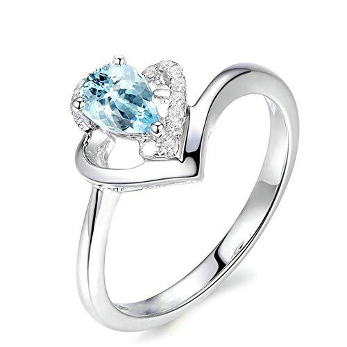 - Bishilin Silver Ring Eternity White Gold Topaz Ring for Women Engagement Silver Rings for Women 925 Size 6.5