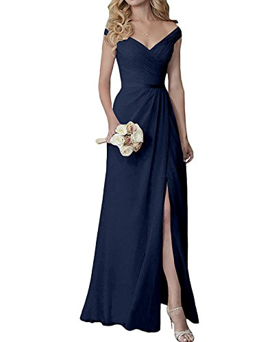 Yilis Elegant V Neck Chiffon Slit Long Bridesmaid Dress Wedding Evening Dress Navy Blue Us24