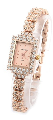 COCOTINA Brand New Lady Women Quartz Rhinestone Crystal Wrist Watch Square gold surface