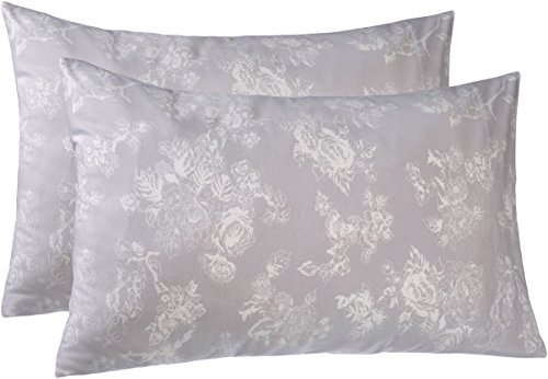 Pinzon 170 Gram Velvet Flannel Pillowcases - King, Floral Grey
