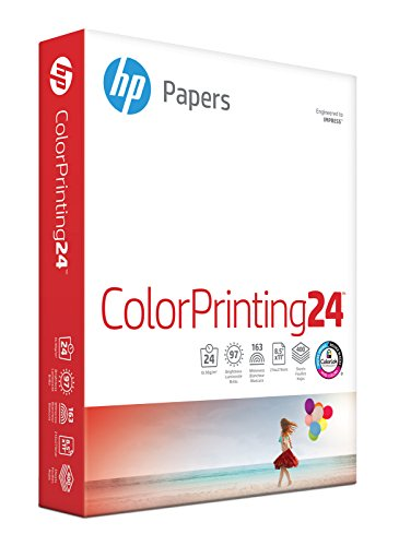 HP Printer Paper, ColorPrinting24, 8.5 x 11 Paper, Letter Size, 24lb Paper, 97 Bright, 400 Sheets / 1 Ream (202040R) Acid Free Paper