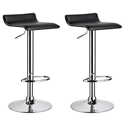 Duhome 2 PCS Contemporary Counter Bar Stool Curved Swivel Adjustable Barstools (Black) (Black Stools Swivel Pvc Seat)