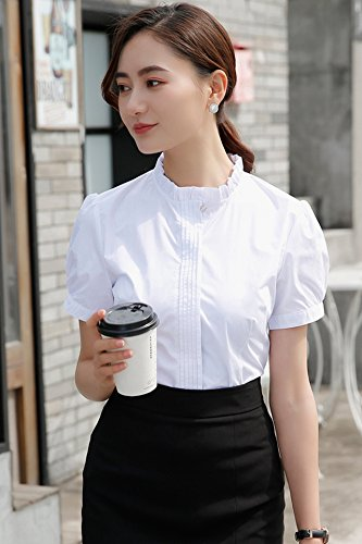 Amazoncom Stand Up Collar Short Sleeved White Shirt