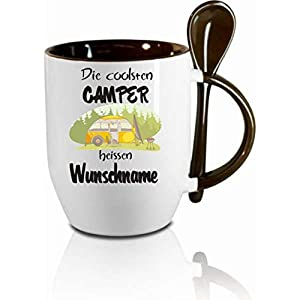 Crealuxe Tasse m. Löffel Die coolsten Camper heißen Wunschname Löffeltasse, Kaffeetasse m. Motiv,Bürotasse, Bedruckte…