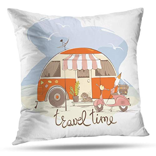 KJONG Cute Rv Vintage Popup Camper Travel Trailer Zippered Pillow Cover18X18 inch Square Decorative Throw Pillow Case Fashion Style Cushion CoversTwo Sides Print