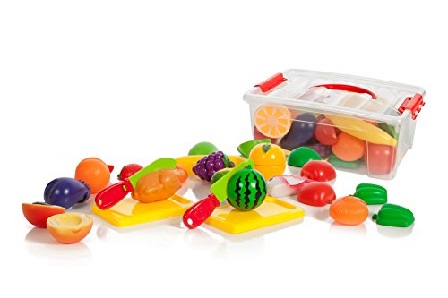 Cutting Food Set (35 piece Cutting Food Play set Fruits & Vegetables 2 Cutting Boards in a storage)