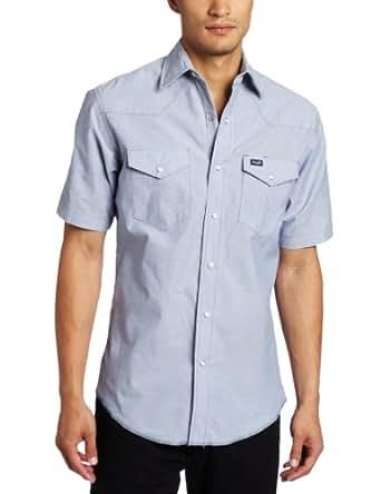 Wrangler Men's Regular Authentic Cowboy Cut Work Western Short Sleeve Shirt,Medium Blue,14.5