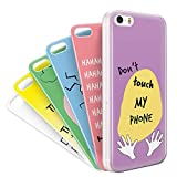 MyPopins iPhone 5/ 5S/ SE Case 6-in-1 Pack | Quality Shockproof Bumper TPU Silicone Phone Covers | Unique Personalised Skin Back Layers with Cute Patterns | Perfect iPhone 5 Cases for Girls & Boys