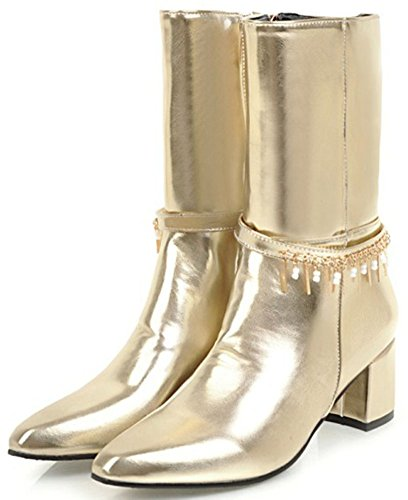 Easemax Women's Sweet Block Mid Heeled Square Toe Pull On Mid Calf Martin Boots Gold DXlWm6PM